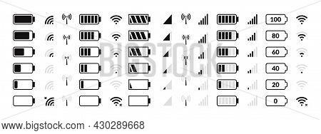 Battery Icon. Cellular Network, Internet Traffic And Data Transfer, Smartphone Status Bar Icons, Bat