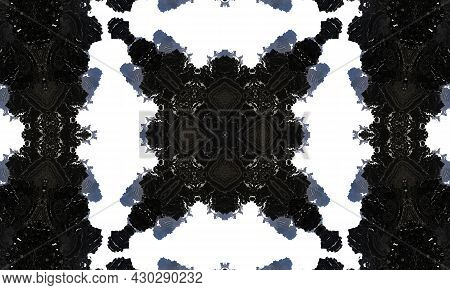 Noir Kaleidoscope. Can Be Used For Coloring Book Page Design,anti Stress Hobby For Adult. Noir Theme