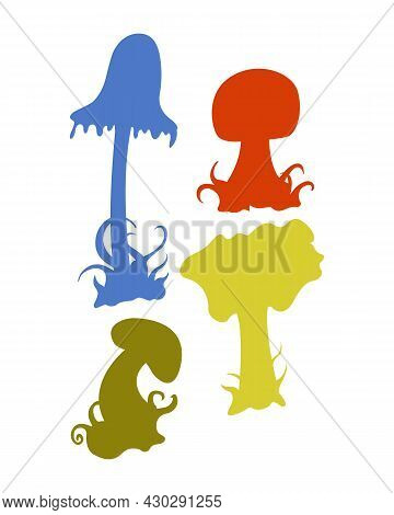 Collection Of Hand Sketches Of Doodles Of Mushrooms. Vector Sketches Of Autumn Forest Plants. Design