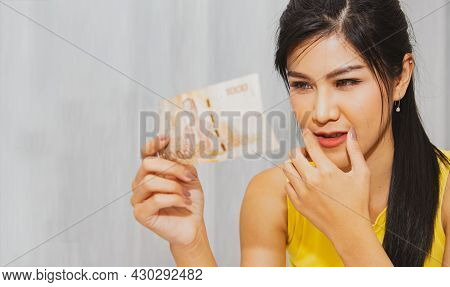 Women Like To Eat Durian, A Popular Tropical Fruit : Portrait Beautiful Woman Holding A Pomegranate-