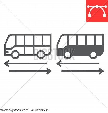 Shuttle Bus Line And Glyph Icon, Travel And Airport, Bus Vector Icon, Vector Graphics, Editable Stro