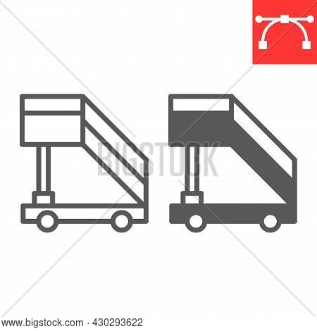 Airport Ladder Line And Glyph Icon, Transport And Airport, Plane Ladder Vector Icon, Vector Graphics
