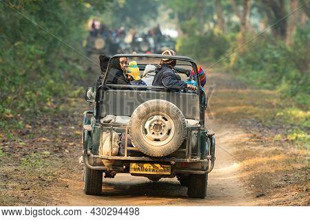 Jim Corbett National Park, Ramnagar, Uttarakhand, India - December 8, 2020 - Tourists On Wildlife Sa