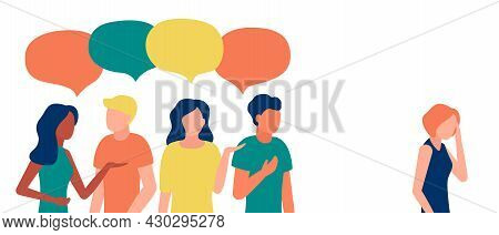 Group Of People Communicate, Ignoring, Bullying, Shaming, Hate, Abuse Woman Outcast. Loneliness, Ign