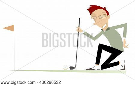 Young Man A Golfer On The Golf Course Illustration. Cartoon Golfer Man Staying On The Kneel Aiming T