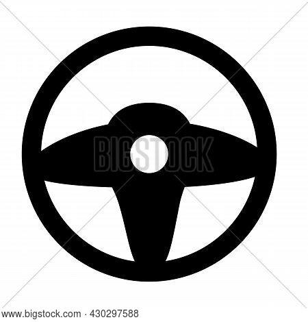 Steering Wheel Icon On White Background. Car Wheel Sign. Wheel Symbol. Flat Style.