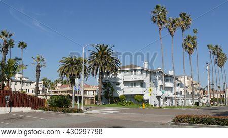 Houses On Suburban Street In California Usa, Oceanside. Generic Buildings In Residential District Ne