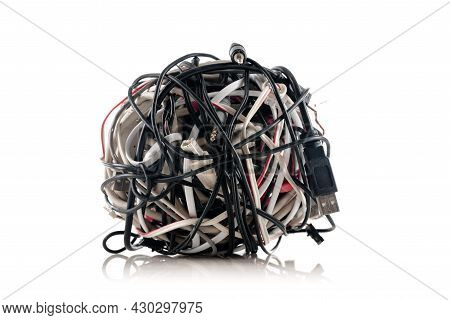Jumbled Pile Of Wires And Cables For Smartphone Isolated On White Background