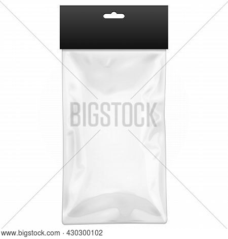 White Black Blank Plastic Pocket Bag With Shadow. Transparent. With Hang Slot. Illustration Isolated