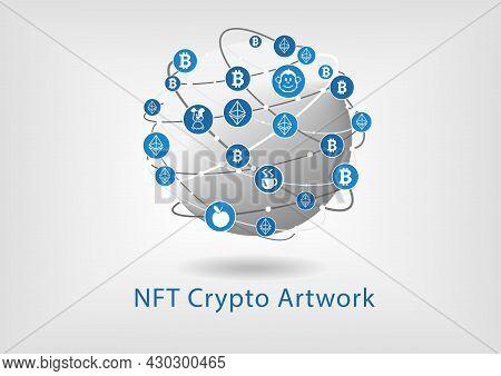Nft Non Fungible Token Concept For Digital Crypto Artwork. Vector Illustration Of Earth With Bitcoin