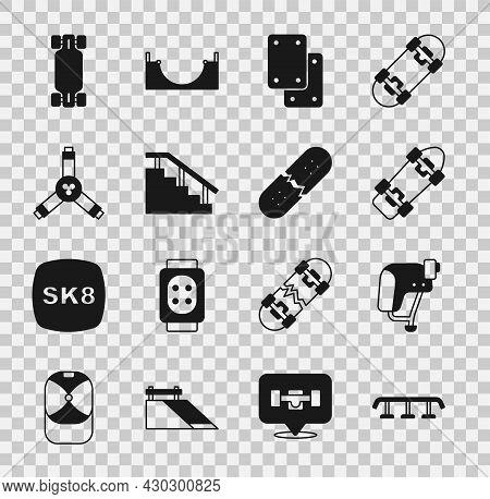 Set Skateboard Stairs With Rail, Helmet, Knee Pads, Y-tool, Longboard Or Skateboard And Broken Deck
