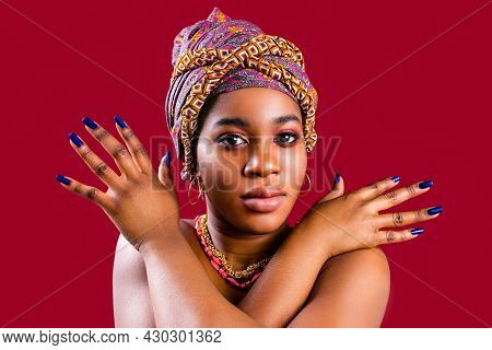 Zanzibar African Woman In Turban And Make Up With Blue Nails