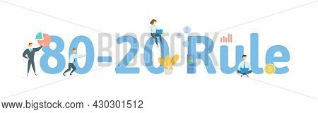 80-20 Rule, Pareto Principle. Concept With Keywords, People And Icons. Flat Vector Illustration. Iso