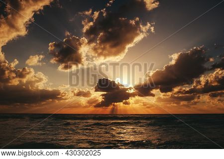 Landscape Of Amazing Sunset, Sunrise Over The Sea With Dramatic Sky Clouds. Sunrise Shot On The Beac