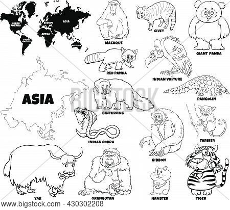 Black And White Educational Cartoon Illustration Of Asian Animal Species Set And World Map With Cont