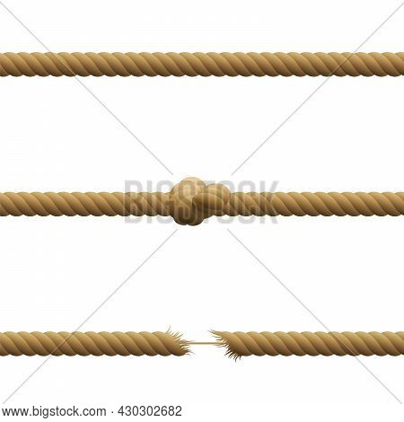 Ropes - Intact, With Knot And Hanging By A Thread With Frayed Tensioned Ends Held Together By A Thin