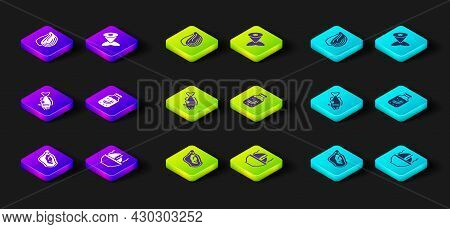 Set Mussel, Shark Fin Soup, Fish, Sea Cucumber Jar, Tail And Icon. Vector