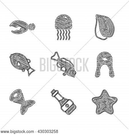 Set Fish, Soy Sauce Bottle, Starfish, Steak, Tail, Tropical, Mussel And Lobster Or Crab Claw Icon. V