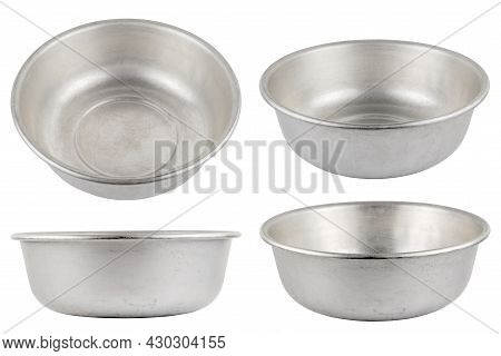 Set Of Different Views Of Used Bare Aluminuim Basin Isolated On White Background