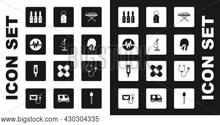 Set Stretcher, Microscope, Heart Rate, Medical Vial, Ampoule, Sore Throat, Eye Drop Bottle, Stethosc