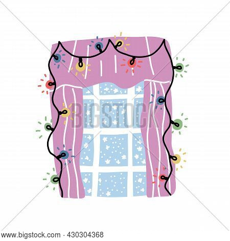 Cute Christmas Decorated Window With Curtains, Fairy Lights And Frosty Pattern On Glass. Cartoon Vec