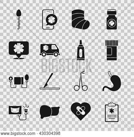 Set Clinical Record, Human Stomach, Medicine Bottle And Pills, Gypsum, Emergency Car, Medical Symbol