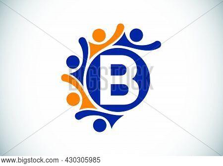 Initial B Monogram Alphabet With Connecting People. Team, Cooperation Logo Sign Symbol. Font Emblem.
