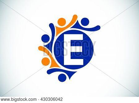 Initial E Monogram Alphabet With Connecting People. Team, Cooperation Logo Sign Symbol. Font Emblem.