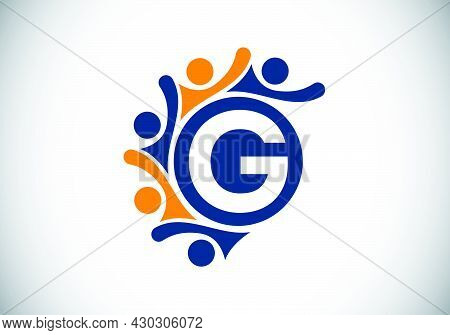 Initial G Monogram Alphabet With Connecting People. Team, Cooperation Logo Sign Symbol. Font Emblem.
