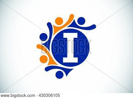Initial I Monogram Alphabet With Connecting People. Team, Cooperation Logo Sign Symbol. Font Emblem.