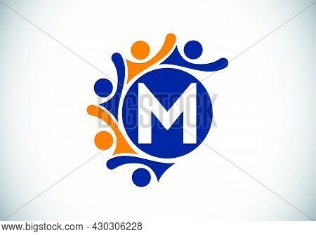 Initial M Monogram Alphabet With Connecting People. Team, Cooperation Logo Sign Symbol. Font Emblem.