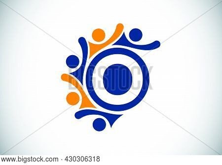 Initial O Monogram Alphabet With Connecting People. Team, Cooperation Logo Sign Symbol. Font Emblem.