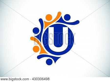Initial U Monogram Alphabet With Connecting People. Team, Cooperation Logo Sign Symbol. Font Emblem.