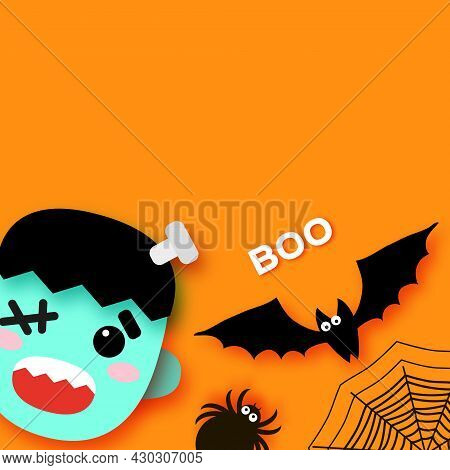 Happy Halloween. Monsters. Frankenstein. Trick Or Treat. Bat, Spider, Web. Space For Text. Boo. Oran