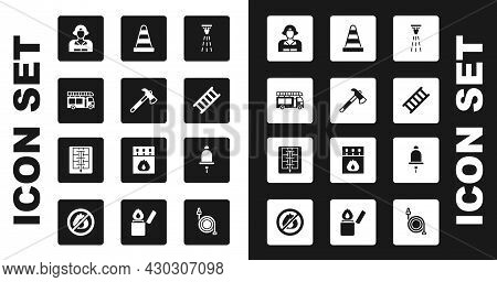 Set Fire Sprinkler, Firefighter Axe, Truck, Escape, Traffic Cone, Ringing Alarm Bell And Evacuation