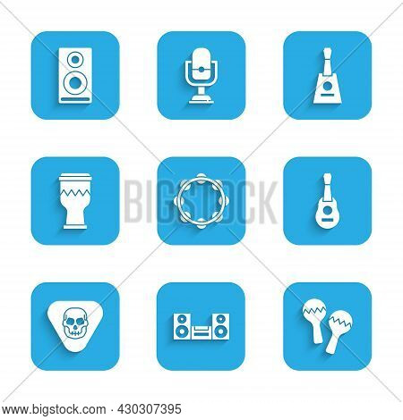 Set Tambourine, Home Stereo, Maracas, Guitar, Pick, Drum, Balalaika And Stereo Speaker Icon. Vector