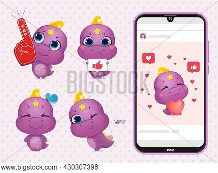 Set Of Cartoon Cute Dinosaur. Dino Holds A Sign With Like, Shows Tap Tap And Swipe Up. Phone Mockup.