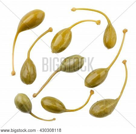 Set Of Pickled Capers Close-up On A White Background, Cutted Capers. Isolated