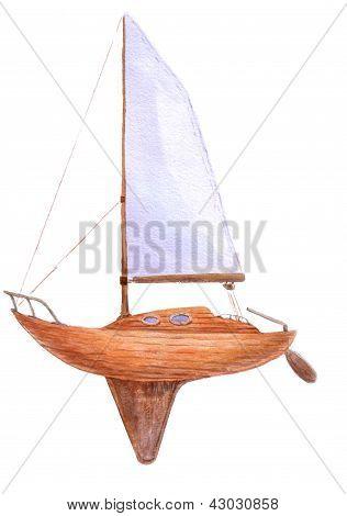 Boat In Watercolor