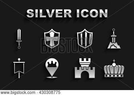 Set Location King Crown, Sword The Stone, King, Castle, Fortress, Medieval Flag, Shield, Sword And I