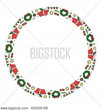 Vector Round Frame For Christmas With An Empty Space Inside For Text. Insulated Round Border From A
