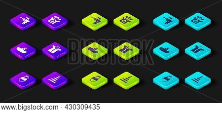 Set Tumbler Doll Toy, Pyramid, Toy Boat, Puppet On Hand, Jack In The Box And Ray Gun Icon. Vector