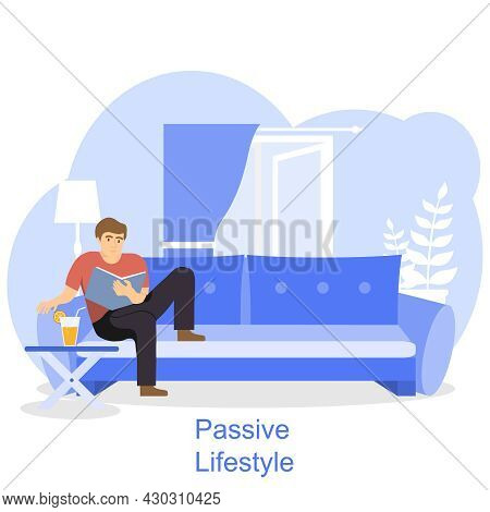 Passive Lifestyle Concept. The Man Sits On The Sofa And Reads A Book Without Worrying About Anything