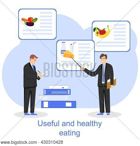 The Concept Of Useful And Healthy Food. A Man Shows A Pointer To A Banner With Healthy Products. Vec
