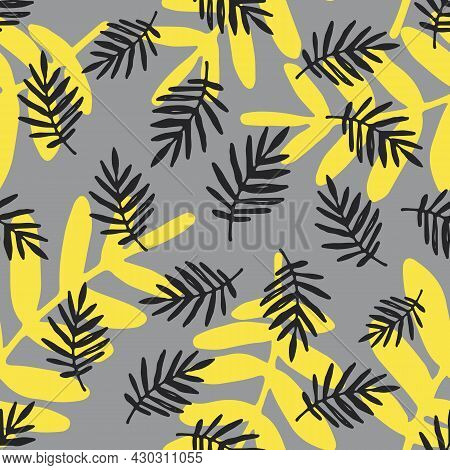 A Vector Seamless Pattern Of Gray And Yellow Leaves On A Light Gray Background. A Pattern Of Hand-dr