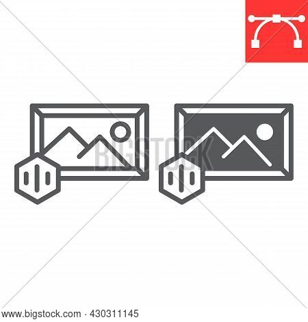 Art To Nft Line And Glyph Icon, Unique Token And Picture With Nft, Non Fungible Token Vector Icon, V