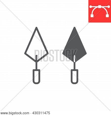 Trowel Line And Glyph Icon, Tool And Repair, Trowel Vector Icon, Vector Graphics, Editable Stroke Ou