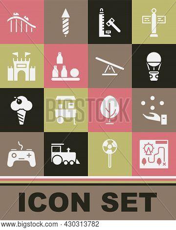 Set Amusement Park Map, Juggling Ball, Hot Air Balloon, Striker Attraction With Hammer, Bottles, Cas
