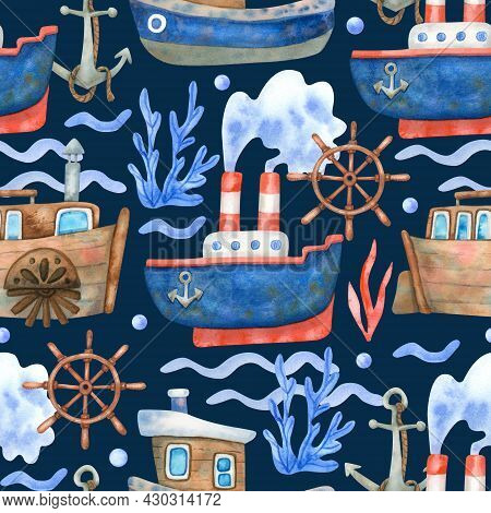 Watercolor Seamless Pattern With Ships, Steering Wheels And Sea Waves On Navy Blue. Beautiful Textil
