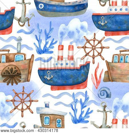 Watercolor Seamless Pattern With Ships, Steering Wheels And Sea Waves On White. Beautiful Textile Pr